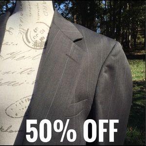 John Alexander Pinstriped Suit Coat Gray